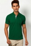 Riverstone Solid Men's Polo Neck Green T...