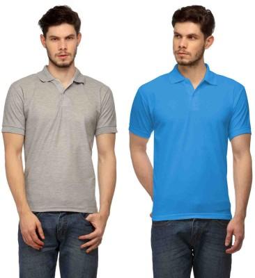 Davie Jones Solid Men's Polo Grey, Blue T-Shirt