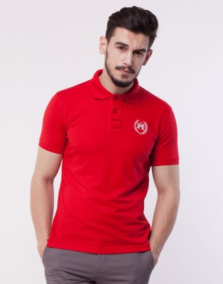 Cotton County Premium Solid Men's Polo Red T-Shirt