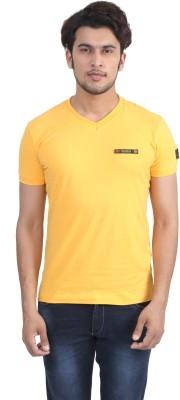 John Players Solid Men's V-neck Yellow T-Shirt