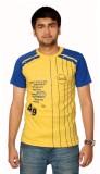 Aaduki Striped Men's Round Neck Yellow T...