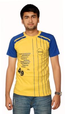 AADUKI Striped Men's Round Neck Yellow T-Shirt