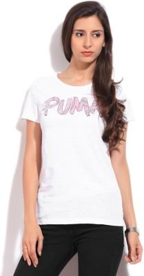 Puma Printed Women's Round Neck White T-Shirt