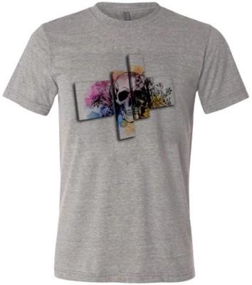 Avenue Seven Printed Men's Round Neck Grey T-Shirt