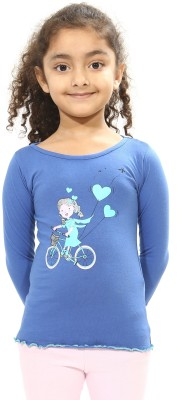 Bio Kid Printed Girl's Round Neck Blue T-Shirt