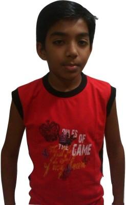 Sanjivni Printed Baby Boy's Round Neck Red T-Shirt