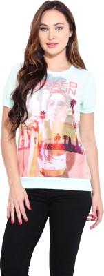 Ceylin Printed Women's Round Neck Green T-Shirt