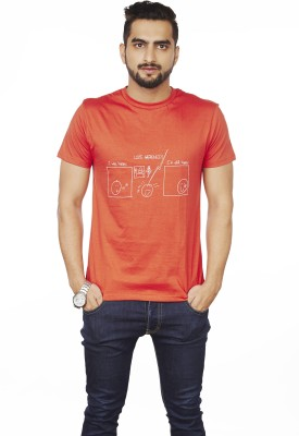 Sentido Graphic Print Men's Round Neck Red T-Shirt