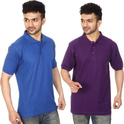 Lyril Solid Men's Polo Blue, Purple T-Shirt