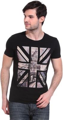 Wild Hawk Printed Men's Round Neck Black T-Shirt