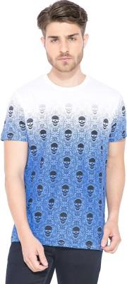 Status Quo Graphic Print Men's Round Neck Blue T-Shirt