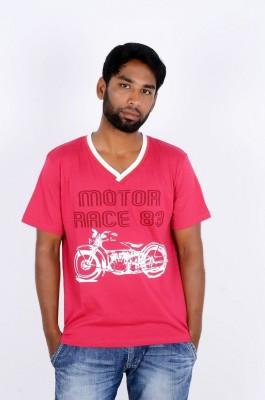 Wearone Printed Men's V-neck Reversible T-Shirt