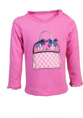 Karrot by Shoppers Stop Printed Girl,s Round Neck Pink T-Shirt