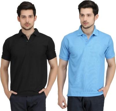 KRAZY KATZ Solid Men's Polo Neck Black, Light Blue T-Shirt