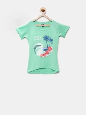 YK Printed Girl's Round Neck Green T-Shirt