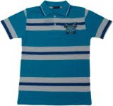 Miracle Striped Men's Polo Neck Blue T-S...