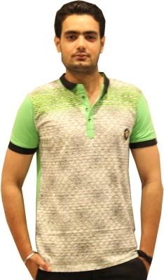 GOPAL EMPORIUM Printed Men's Mandarin Collar Green T-Shirt