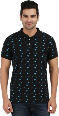 AG Printed Men's Polo Neck Black, Blue T-Shirt