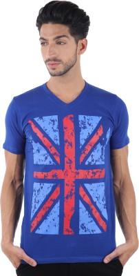 Burdy Printed Men's V-neck Blue T-Shirt