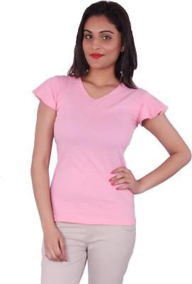 Adam N Eve Solid Women's V-neck Pink T-Shirt