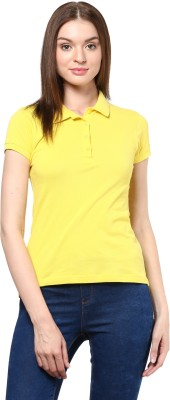 Trend18 Solid Women's Polo Neck Yellow T-Shirt