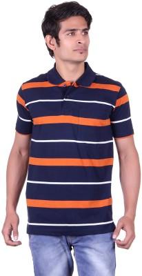 JAYIS Striped Men's Polo Neck Dark Blue T-Shirt