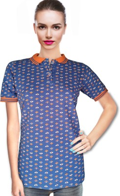 BeforeAfter Printed Women's Polo Neck Blue, Orange T-Shirt