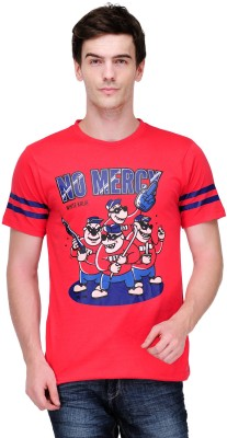 White Kalia Graphic Print Men,s Round Neck Red T-Shirt