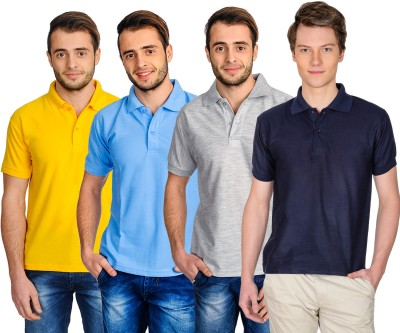 Superjoy Solid Men's Polo Neck Dark Blue, Grey, Yellow, Light Blue T-Shirt