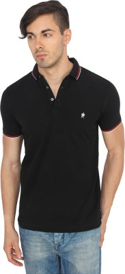 French Connection Solid Men's Polo Neck Black T-Shirt