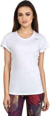 Mizuno Solid Women's V-neck White T-Shirt
