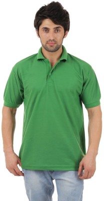 Rockhard Solid Men's Polo Neck Green T-Shirt