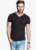 Himgiri Solid Men's V-neck Black T-Shirt