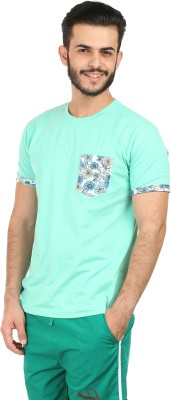 Habitude Floral Print, Solid Men's Round Neck Light Green T-Shirt
