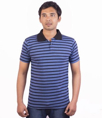 Indrow Self Design, Striped Men's Polo Neck Blue T-Shirt