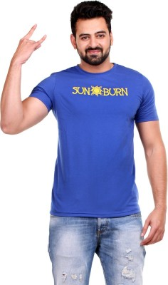 Clotone Printed Men's Round Neck Blue T-Shirt