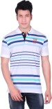 PICKLE Solid, Striped Men's Polo Neck Wh...