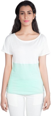 Shyle Solid Women's Round Neck Green T-Shirt