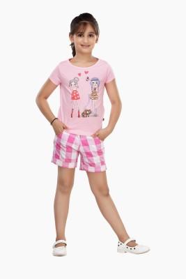 Trmpi Graphic Print Girl's Round Neck Pink T-Shirt