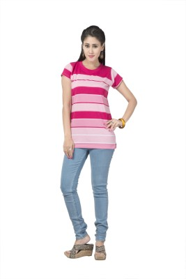 Prova Striped Women's Round Neck Pink T-Shirt