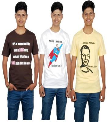 Molecules Printed Men's Round Neck Brown, White, Yellow T-Shirt