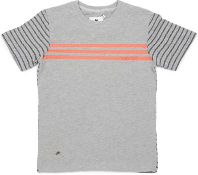WROGN Striped Boy's Round Neck Grey T-Shirt
