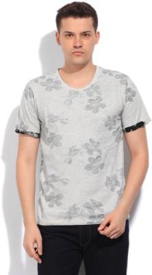 Indicode Printed Men's Round Neck Black, Grey T-Shirt