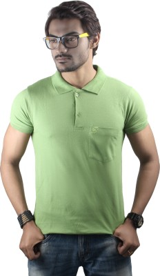 Spur Solid Men's Polo Neck Green T-Shirt