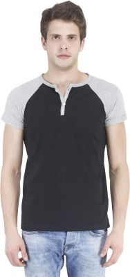 Bonzer Fashion Solid Men's Henley Black, Grey T-Shirt