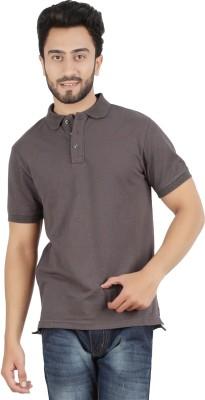 Hoodz Solid Men's Polo Neck Grey T-Shirt