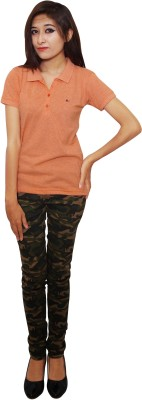 Parv Collections Solid Women's Polo Neck Orange T-Shirt