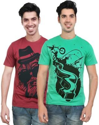 Algotton Graphic Print Men,s Round Neck Maroon, Green T-Shirt