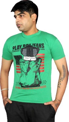AS42 Solid Men's Round Neck Green T-Shirt