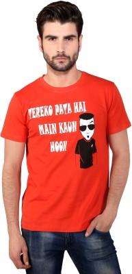Attabouy Printed Men's Round Neck Orange T-Shirt